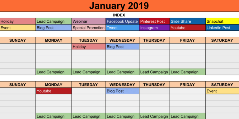 Content Calendar Template 2019.Social Media Calendar Template 2019 Guez Marketing