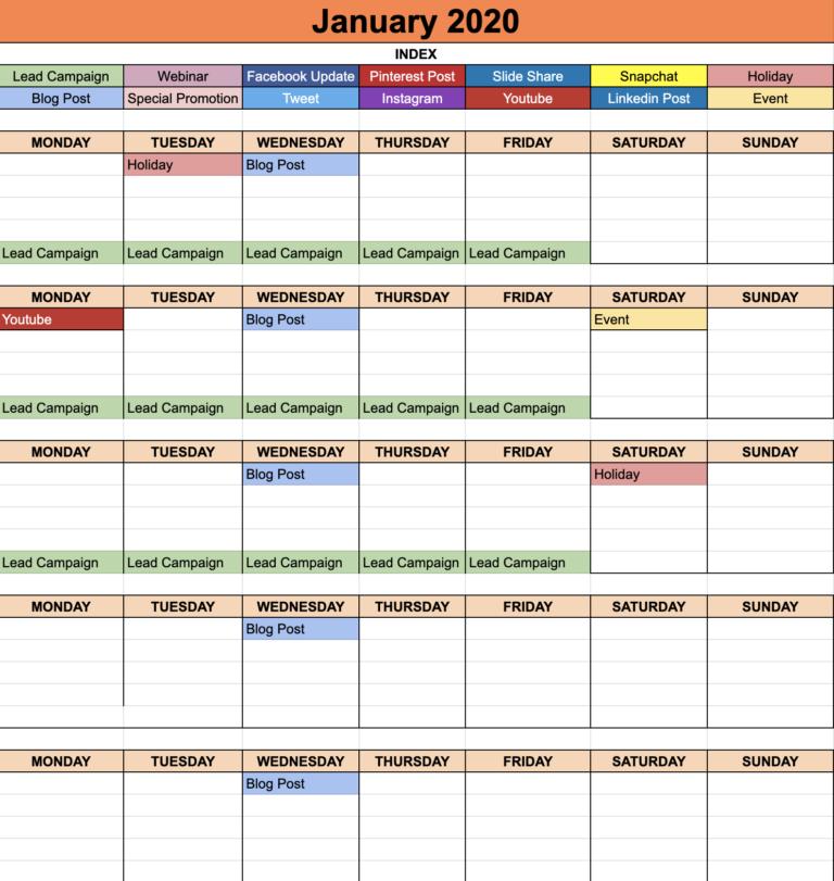 Social Media Calendar Template 2020 Guez Marketing